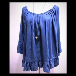 Style & Co Chambray Off Shoulder Blouse 3X